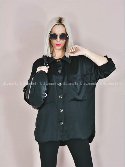 Saténová košeľa Mia čierna B 354