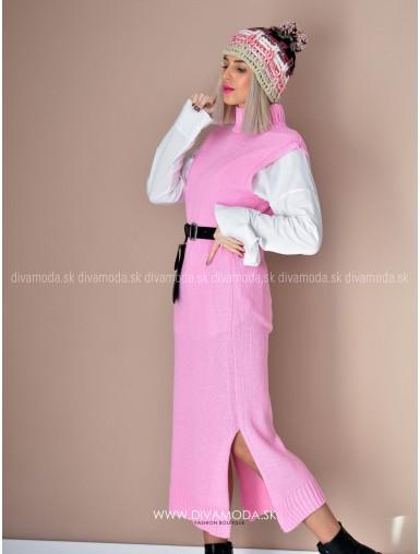Maxi vesta s košeľou baby pink D 66