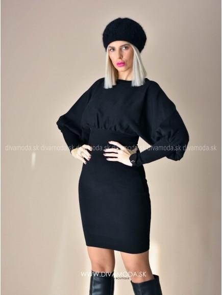 Úpletové šaty s puf rukávom čierne D 72