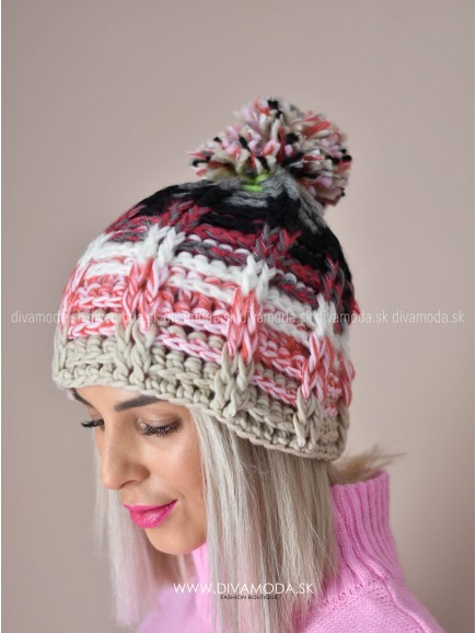 Čiapka multicolor pink K 28