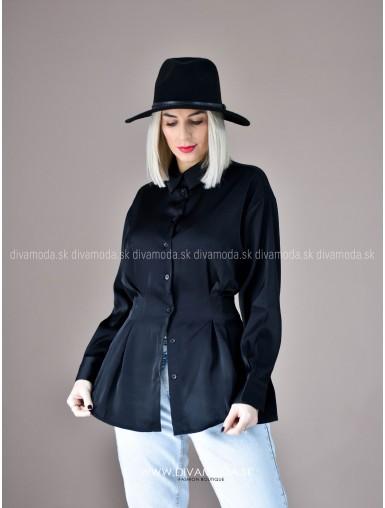 Saténová košeľa camila black D 76