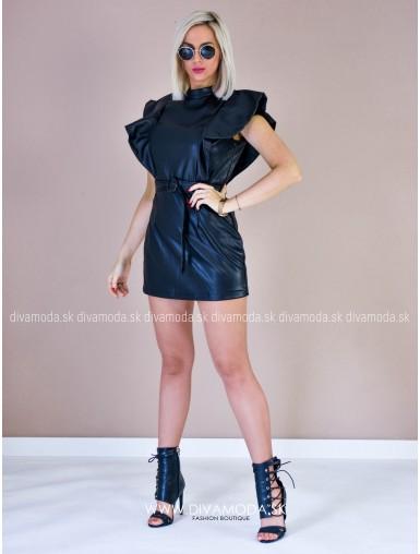 Koženkové šaty s volánmi qido D 128