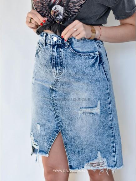 Riflová sukňa modrá Crox D 110