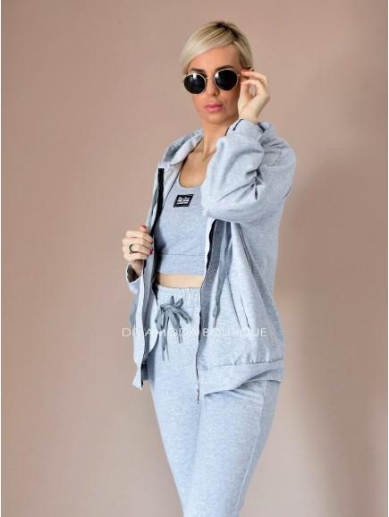 KOMPLET 3 -dielný fashion sivý D 142