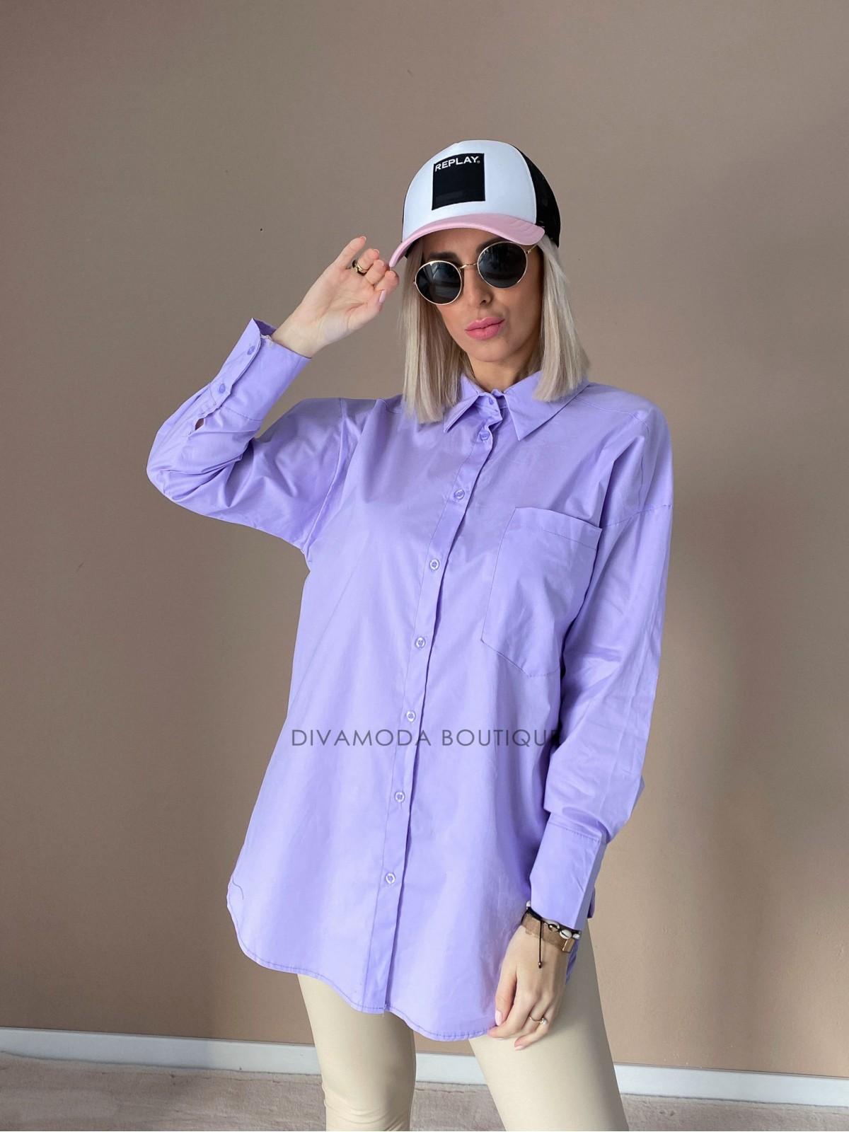 Predĺžená oversize košeľa fialová D 137