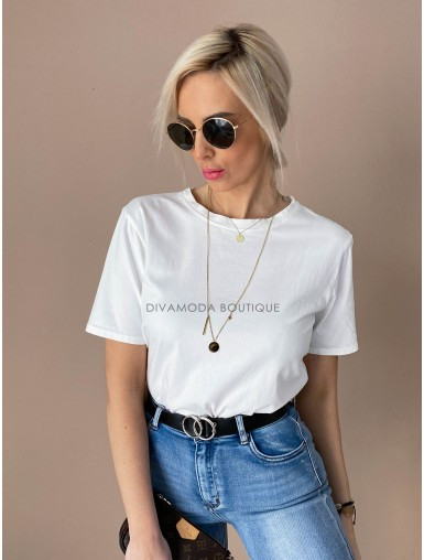 Basic bavlnené tričko biele D 147