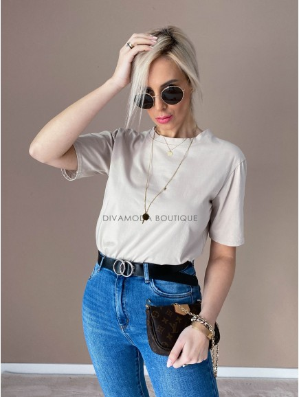 Basic bavlnené tričko nude D 147