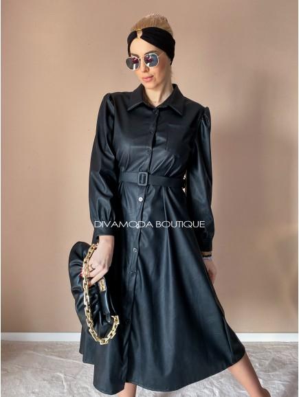 Koženkové šaty Very čierne D 11