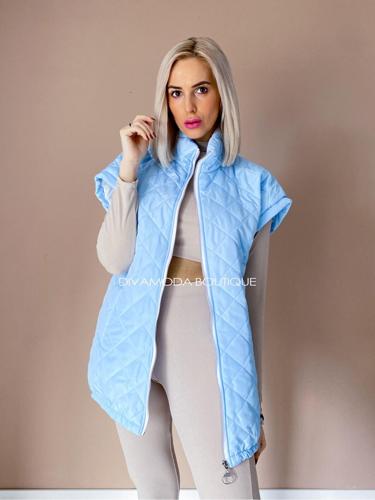 Oversize vesta prešívaná baby blue D 217