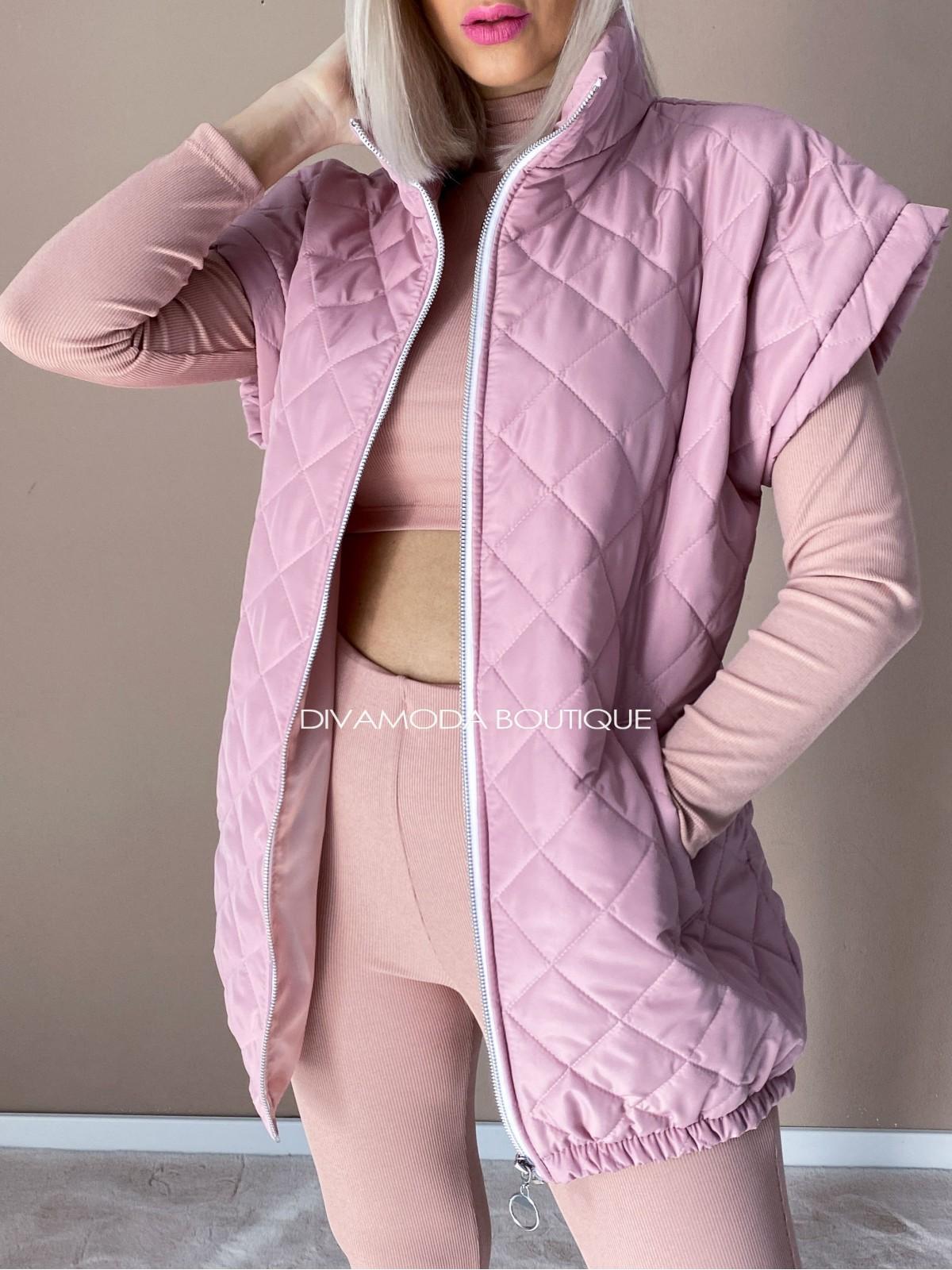 Oversize vesta prešívaná old pink D 217