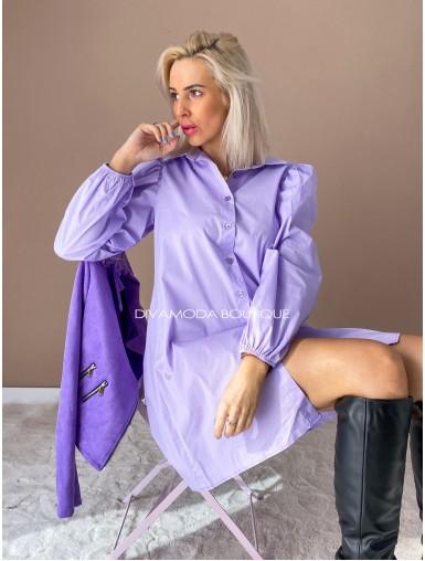 Košeľové šaty fox fialové D 112