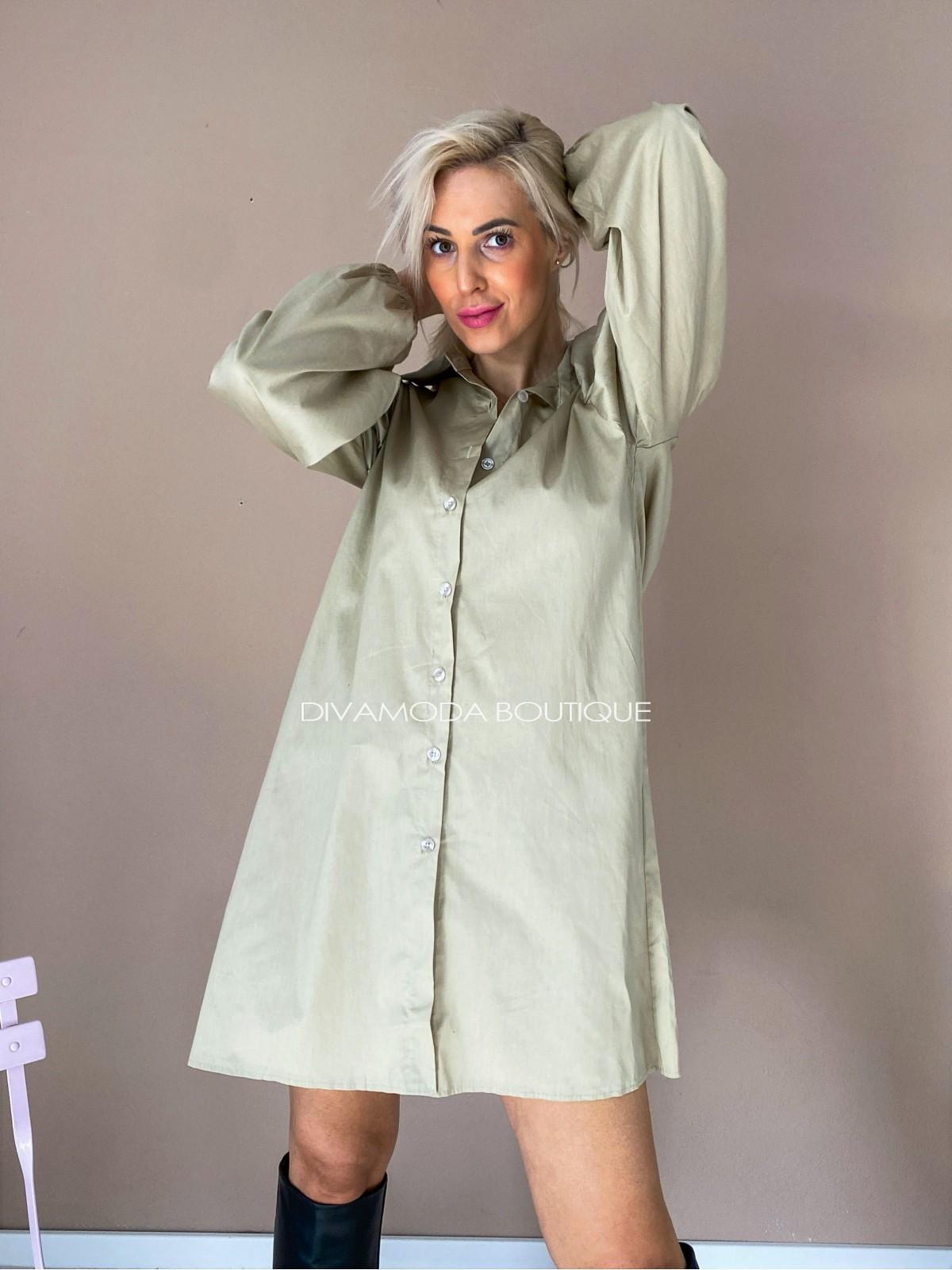 Košeľové šaty fox béžové D 112