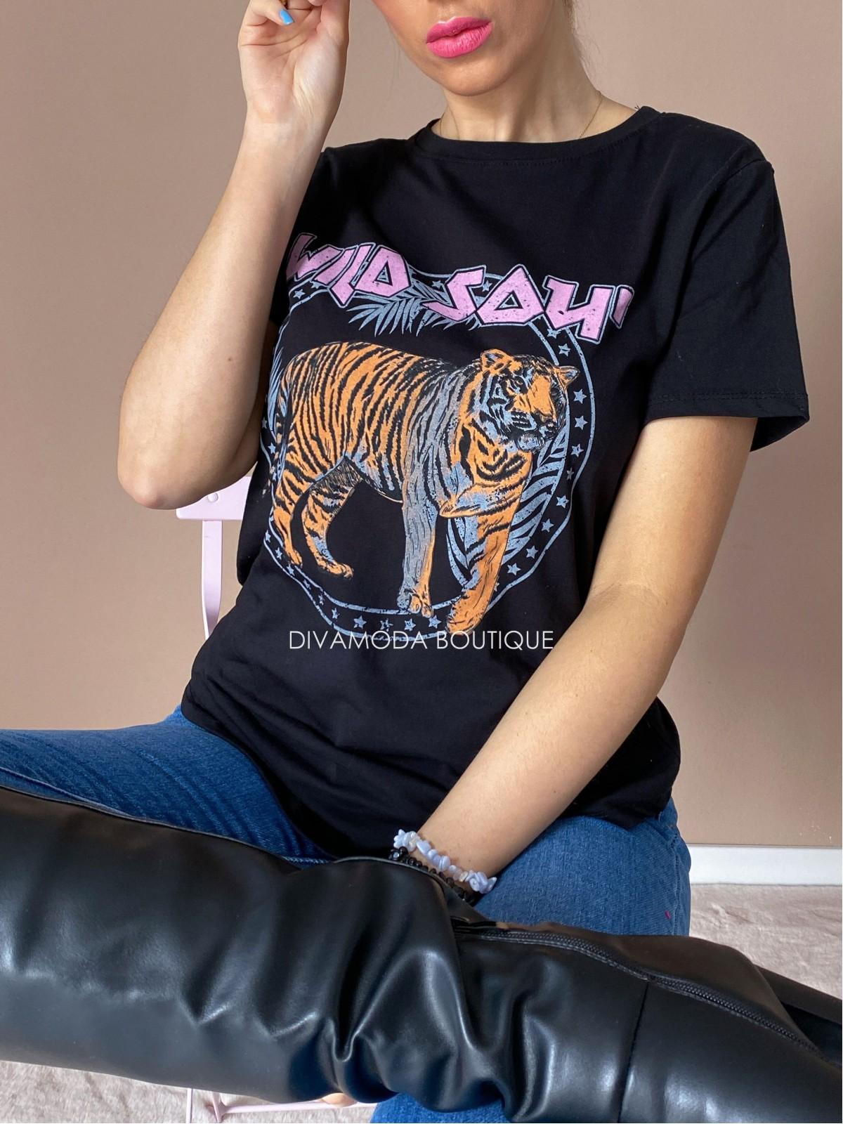 Tričko tiger wild čierne D 236