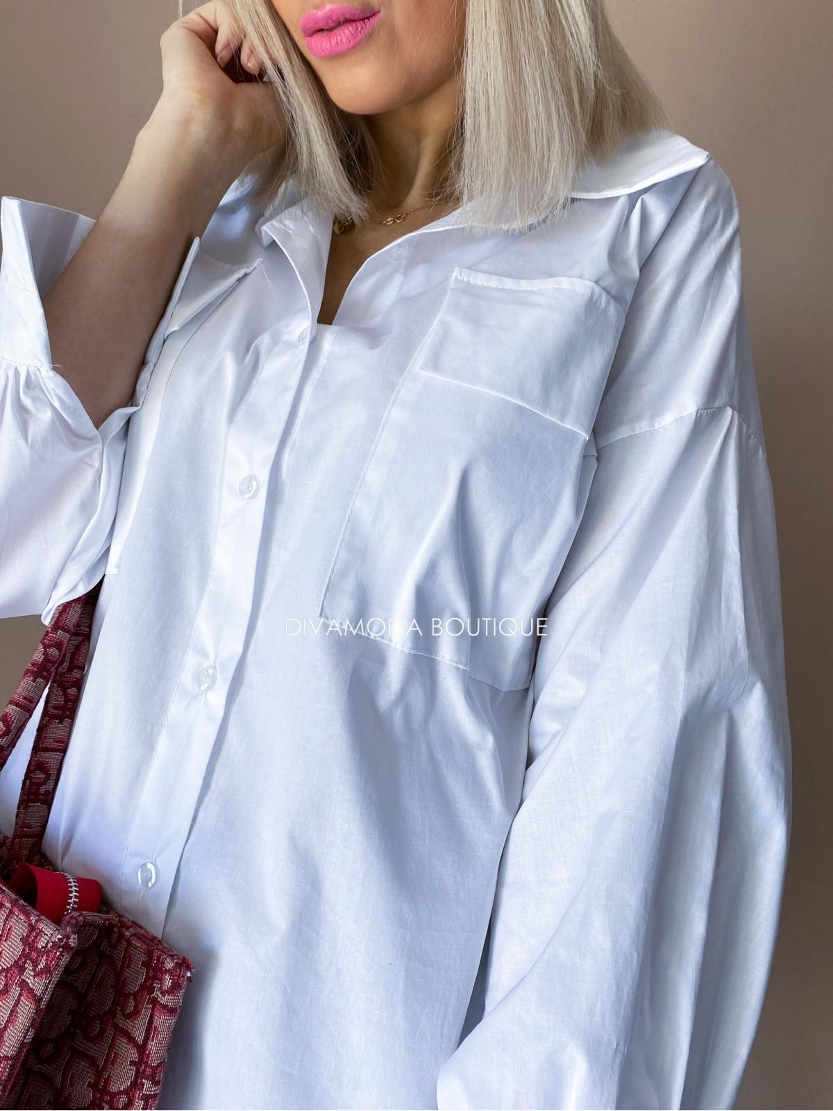 Predĺžená košeľa biela Ada D 247