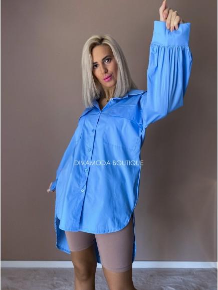 Predĺžená košeľa modrá Ada D 247