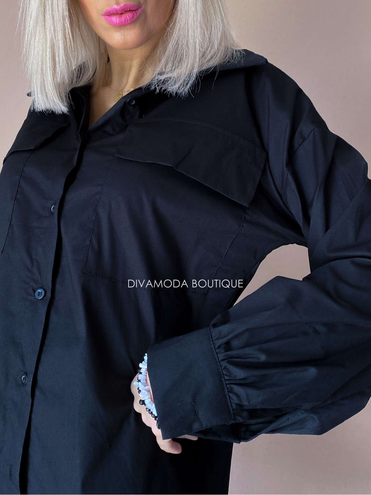 Predĺžená košeľa čierna Ada D 247