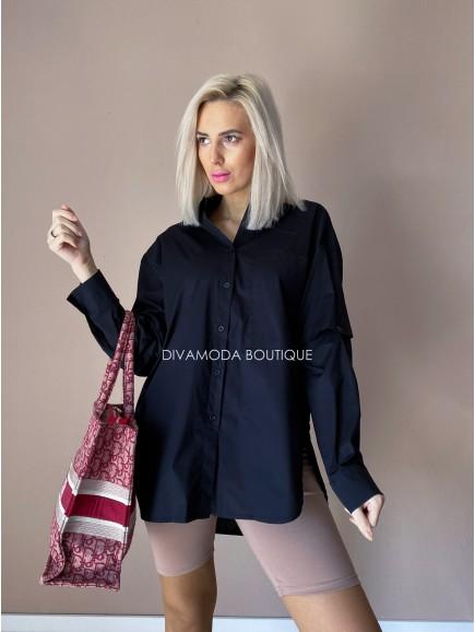 oversize košeľa čierna Tia D 246