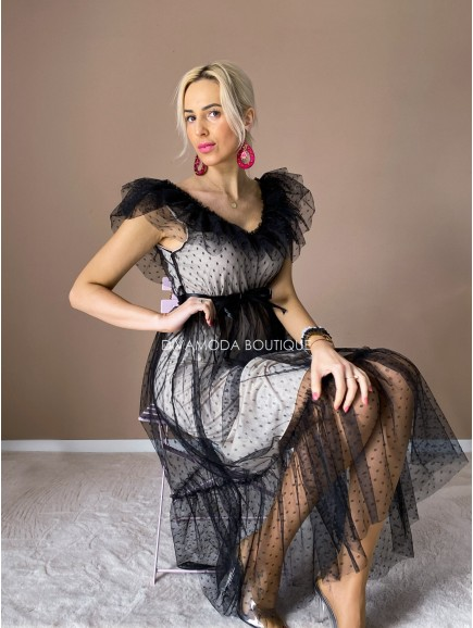 midi tylové šaty s volánom dottie čierne/béžové M 12