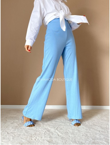 Vrúbkované široké nohavice  modré M 33