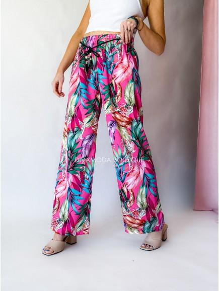 Saténové nohavice tropic ružové M 40