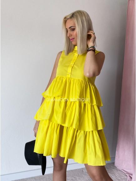 Košeľové šaty s fodričkami Ali žlté M 49