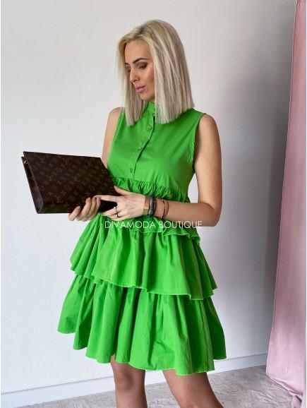 Košeľové šaty s fodričkami Ali zelené M 49