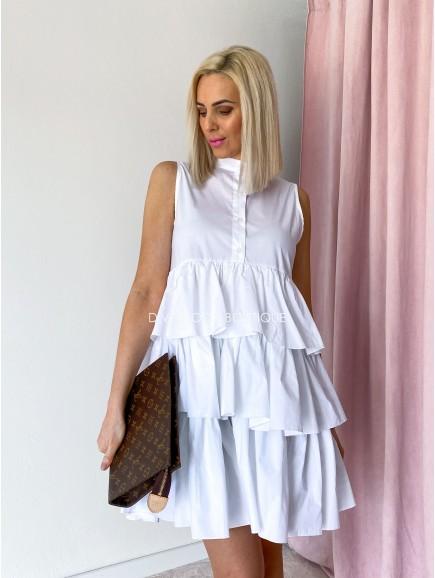 Košeľové šaty s fodričkami Ali biele M 49