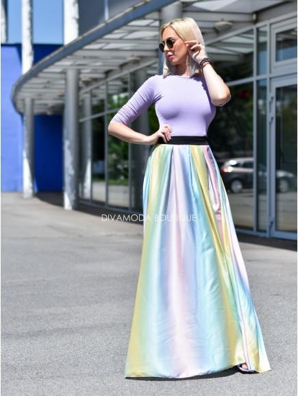Saténová maxi sukňa dúha mod-žlt M 70