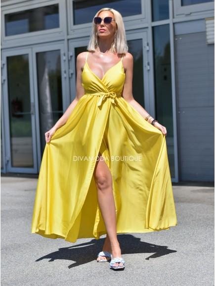 Saténové maxi šaty na ramienka Viva žltá M 32