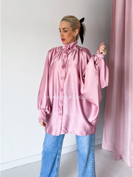 Saténová oversize košeľa Pink Veri M 71