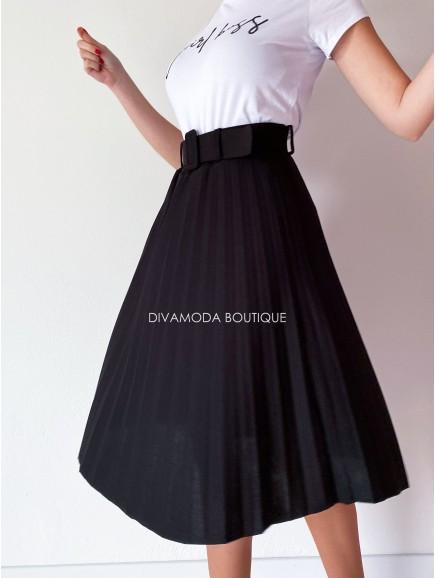 Plisovaná midi sukňa čierna M 86