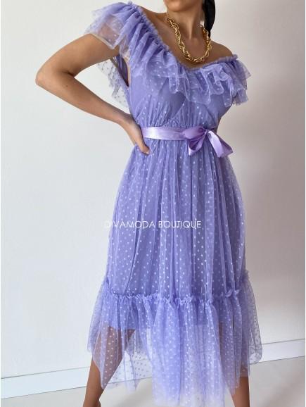 midi tylové šaty s volánom dottie fialkové M 12