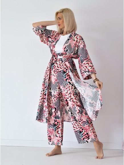 Kimono set bella long ružový M 121