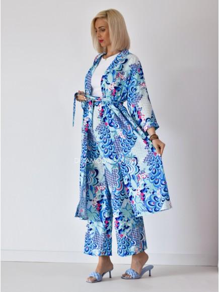 Kimono set bella long modrý M 121