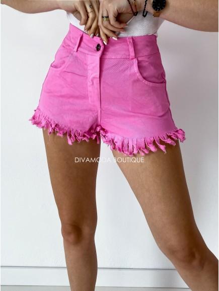Kraťasy riflové so strapcami ružové M 119