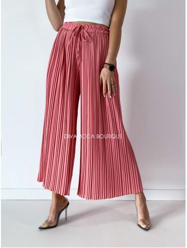 Plisované široké nohavice ružové M 122