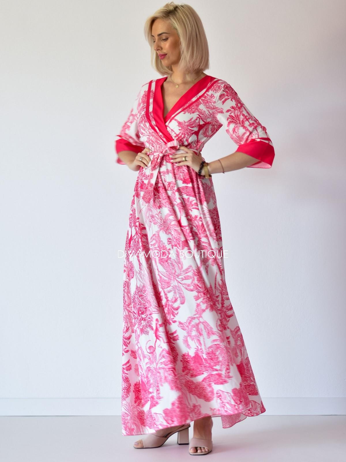 Maxi šaty safari ružové M 128