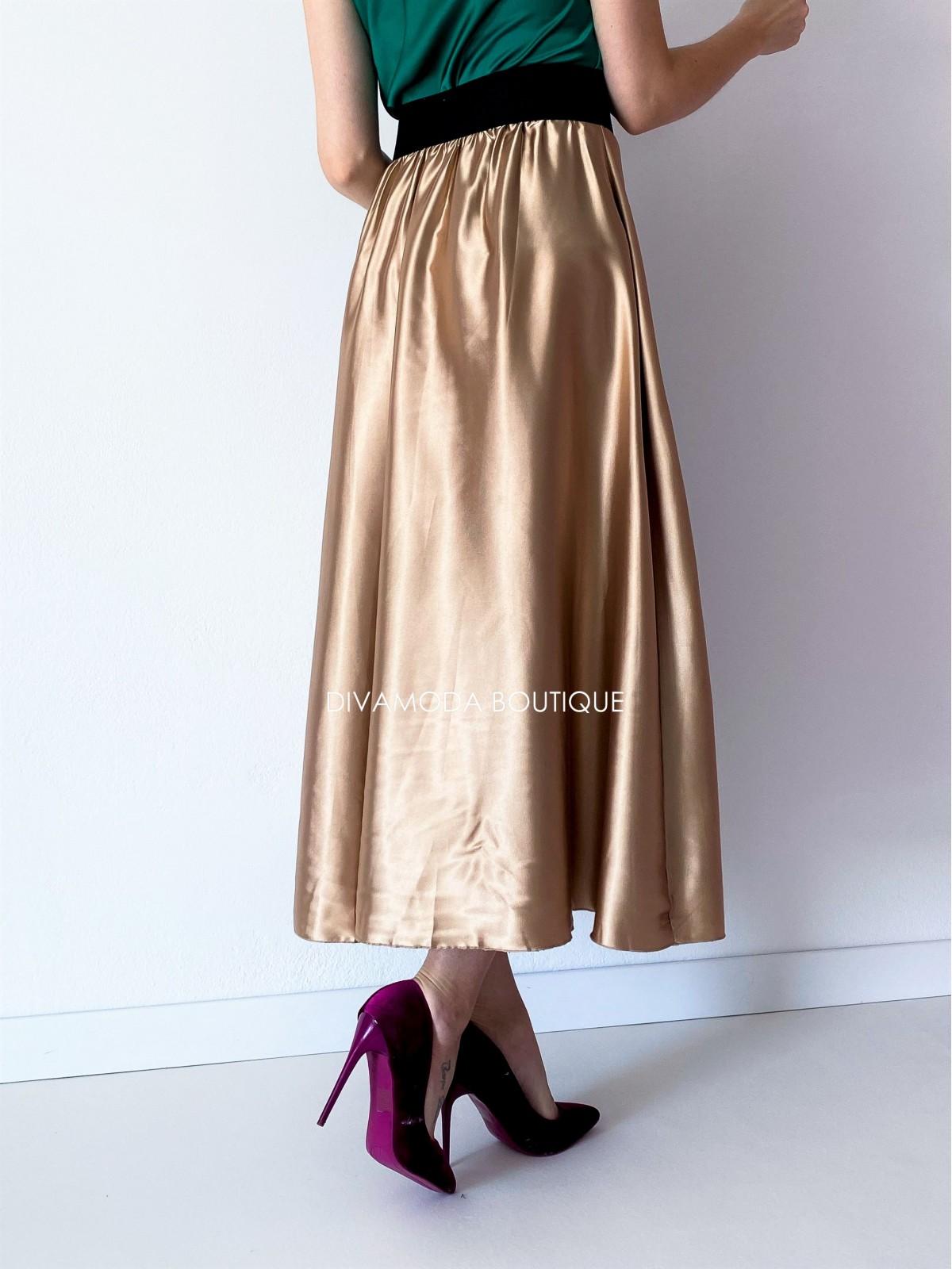 Maxi sukňa saténová zlatá Ewa M 142