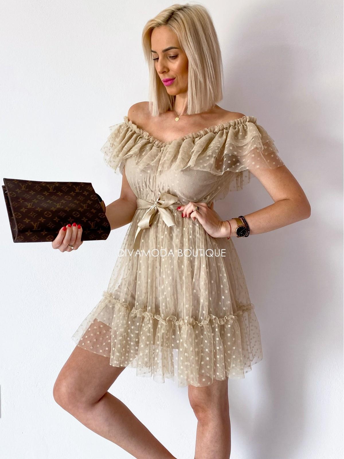 tylové šaty s volánom dottie short béžové M 12