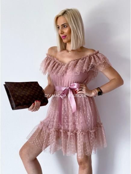 tylové šaty s volánom dottie short ružové M 12
