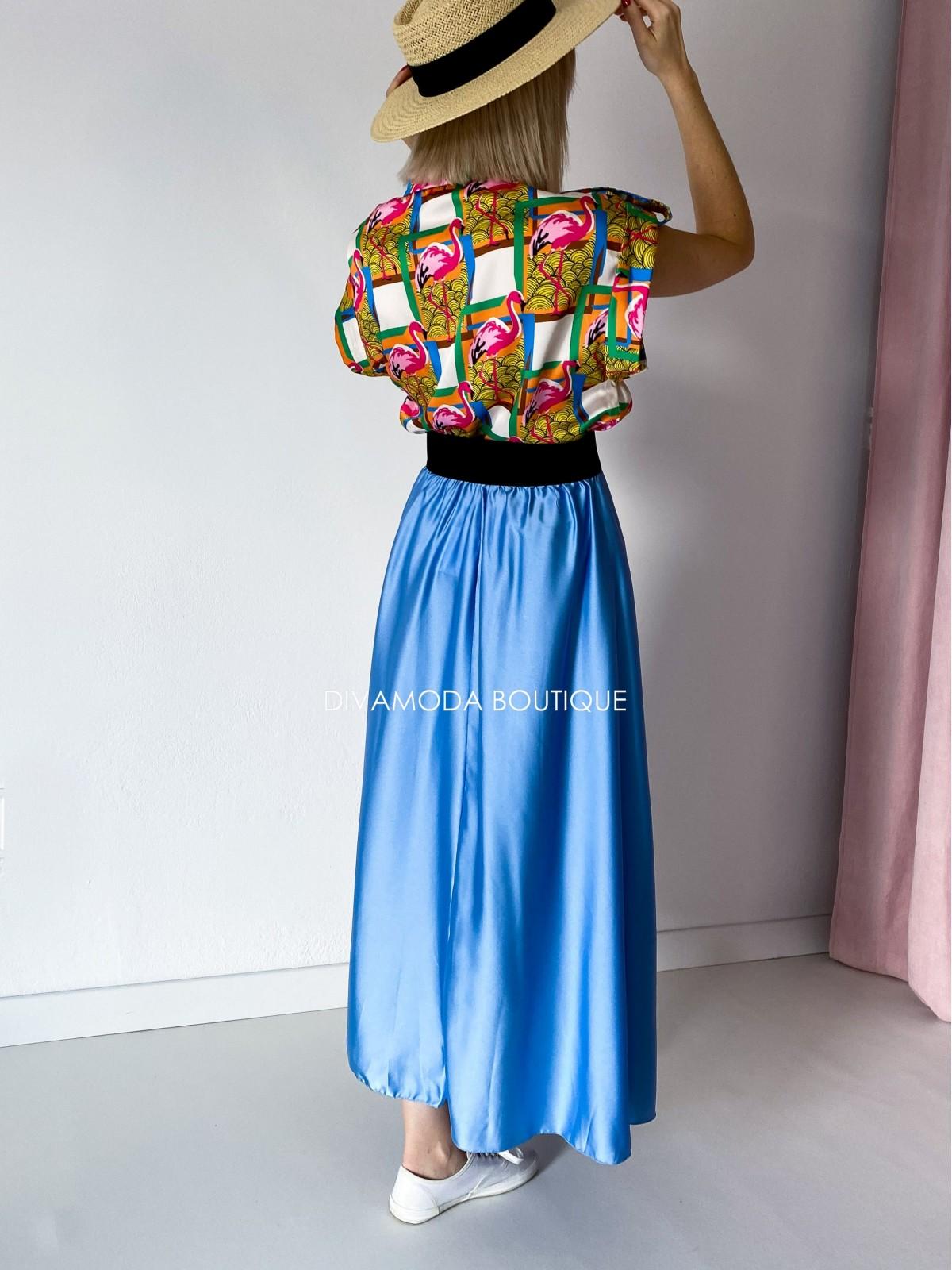 Maxi sukňa saténová modrá Ewa M 142