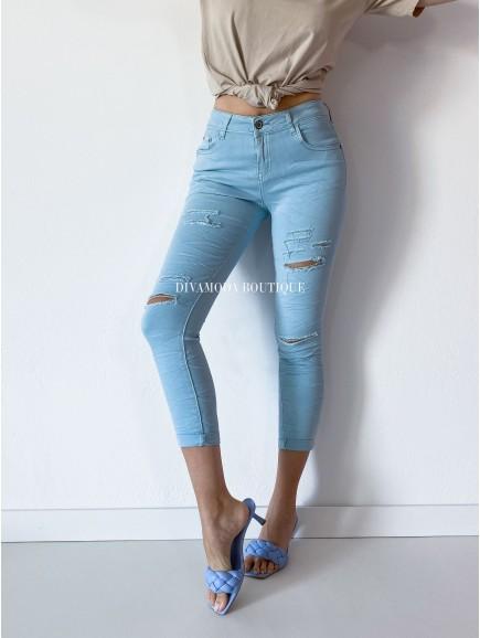 Riflové nohavice skiny s trhaním modré  M 149
