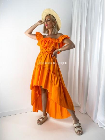 Asymetrické maxi šaty s volánom orange M 115