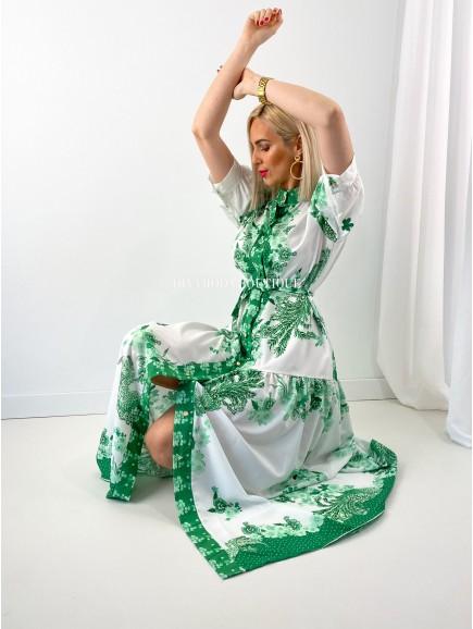 Košeľové maxi šaty flora zelené M 153