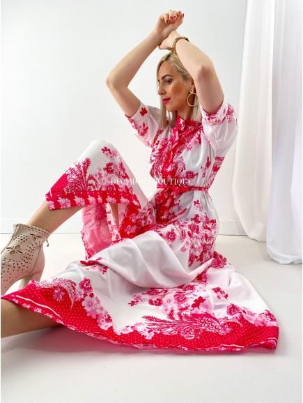 Košeľové maxi šaty flora ružové M 153