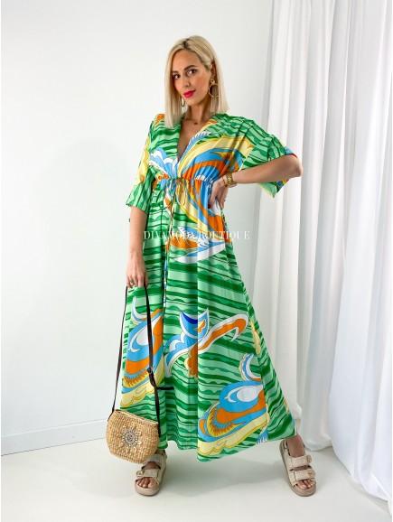 Maxi šaty Rainbow zelené M 166
