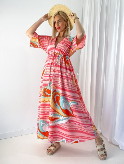 Maxi šaty Rainbow ružové M 166