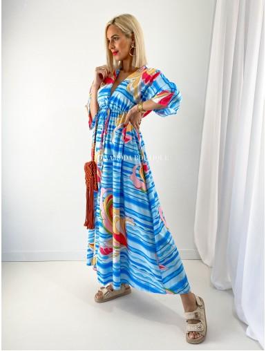 Maxi šaty Rainbow modré M 166