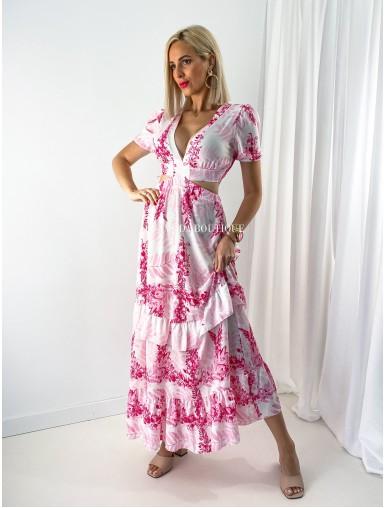 Maxi šaty floria s výrezmi ružové M 157