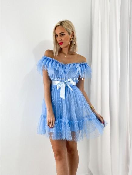 tylové šaty s volánom dottie short baby blue M 12